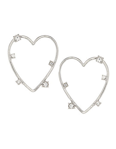 Jordyn G Silvertone Scattered Rhinestone Heart Earrings-SILVER-One Size