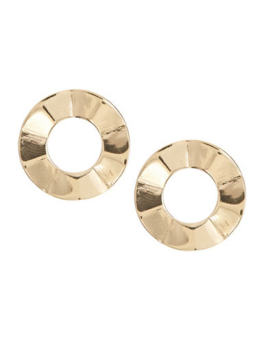 Jordyn G Goldtone Flat Circle Earrings-GOLD-One Size