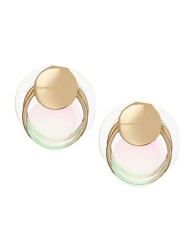 Jordyn G Goldtone Lucite Disk Door Knocker Earrings-GOLD-One Size