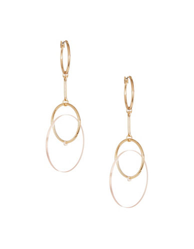Jordyn G Goldtone Hoop & Lucite Disk Drop Earrings-GOLD-One Size