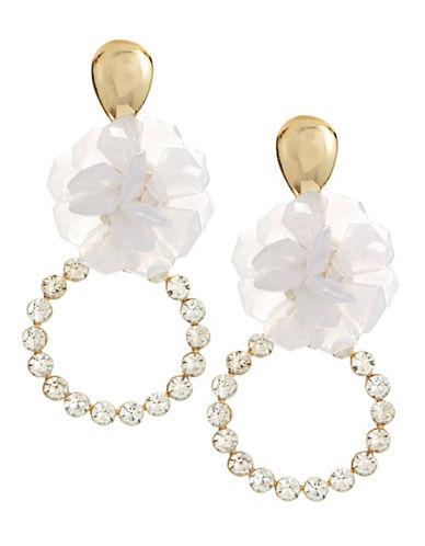 Jordyn G Flower Rhinestone Hoop Drop Earrings-WHITE-One Size