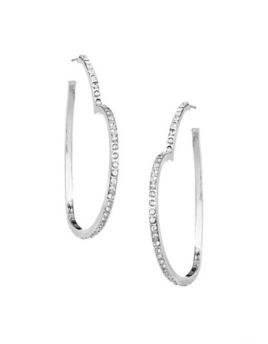 Jordyn G Rhinestone Heart Hoop Earrings-SILVER-One Size