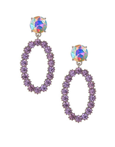 Jordyn G Oval Rhinestone Faceted Stone Earrings-PURPLE-One Size
