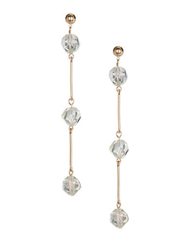Jordyn G Faceted Glass Bead Drop Earrings-GOLD-One Size