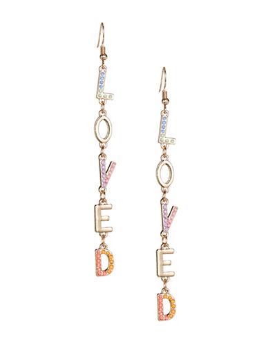 Jordyn G Cascading Letter Drop Earrings-MULTI-One Size