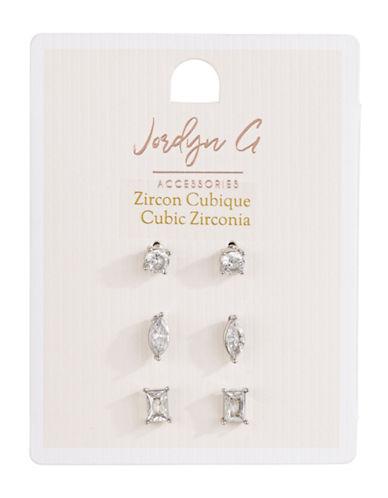 Jordyn G 3-Pack Silvertone Cubic Zirconia Marquis Emerald Stud Earrings-SILVER-One Size