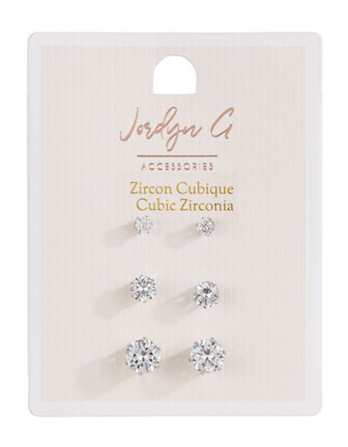 Jordyn G 3-Pack Cubic Zirconia Round Stud Earrings-SILVER-One Size