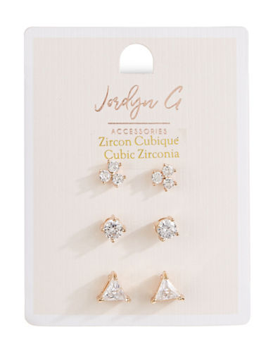 Jordyn G 3-Pack Goldtone Cubic Zirconia Flower Circle Triangle Stud Earrings Set-GOLD-One Size