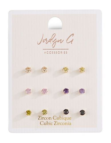 Jordyn G 6-Pack Multicolour Cubic Zirconia Round Stud Earrings-ASSORTED-One Size