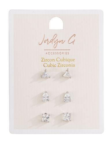 Jordyn G 3-Pack Cubic Zirconia Stud Earrings-SILVER-One Size