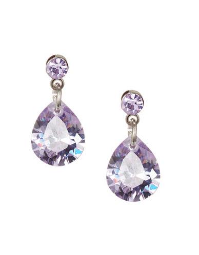 Jordyn G Purple Cubic Zirconia Teardrop Stud Earrings-PURPLE-One Size