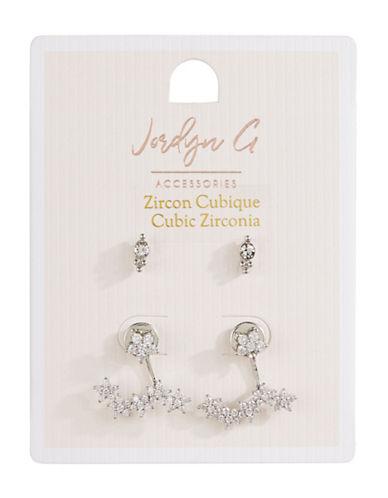 Jordyn G 2-Pack Silvertone Cubic Zirconia Star Crawler Earrings-SILVER-One Size
