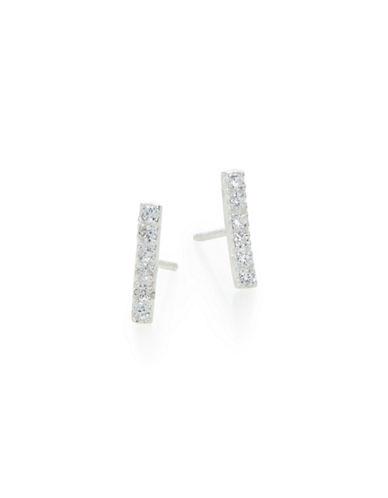 Jordyn G Sterling Silver Pave Bar Stud Earrings-SILVER-One Size