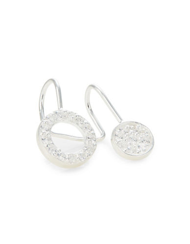 Jordyn G Two Pave Circle Sterling Silver Cuff Earrings-SILVER-One Size