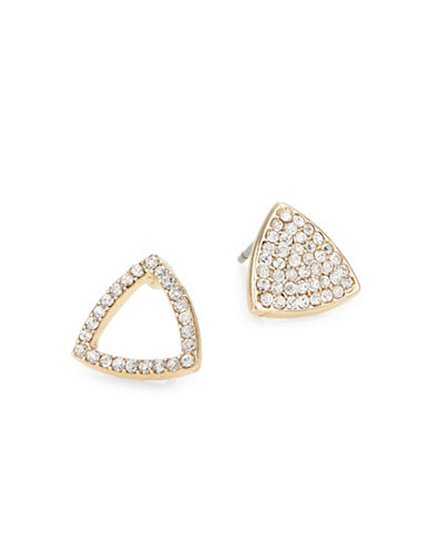 Jordyn G 18K Gold Mismatched Triangle Stud Earrings-GOLD-One Size