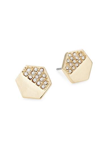 Jordyn G 18K Gold Hexagon Stud Earrings-GOLD-One Size