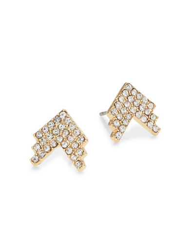 Jordyn G 18K Gold-Plated Pave Chevron Stud Earrings-GOLD-One Size