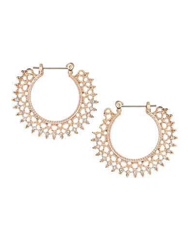 Jordyn G Filigree Rhinestone Hoop Earrings-ROSE GOLD-One Size