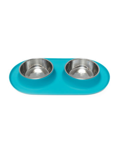 Messy Mutts Medium Silicone Double Feeder-BLUE-Medium