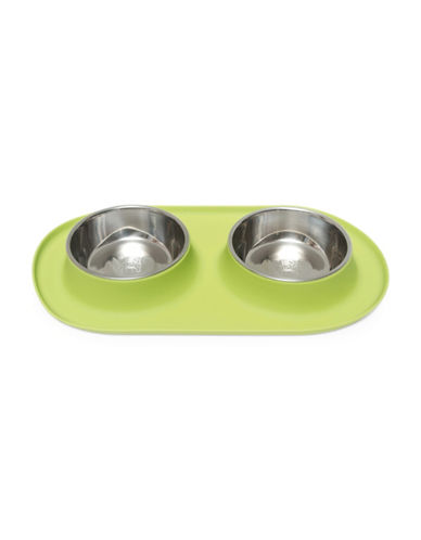 Messy Mutts Medium Silicone Double Feeder-GREEN-Medium