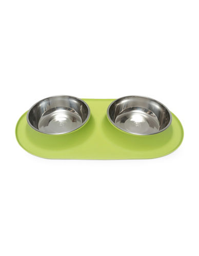 Messy Mutts Extra Large Silicone Double Feeder-GREEN-XLarge