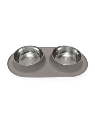 Messy Mutts Extra Large Silicone Double Feeder-GREY-XLarge