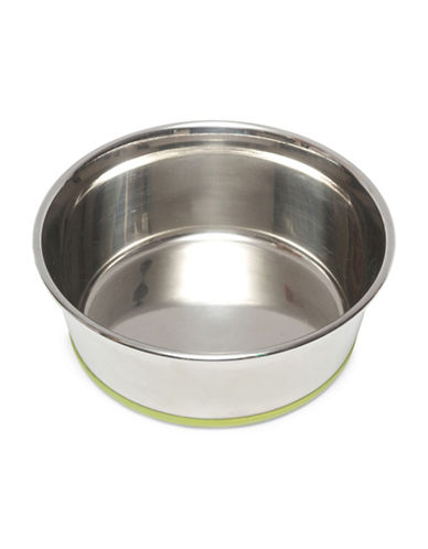 Messy Mutts Medium Non-Slip Stainless Steel Bowl-GREEN-Medium