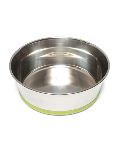 Messy Mutts Large Non-Slip Stainless Steel Bowl-GREEN-Large