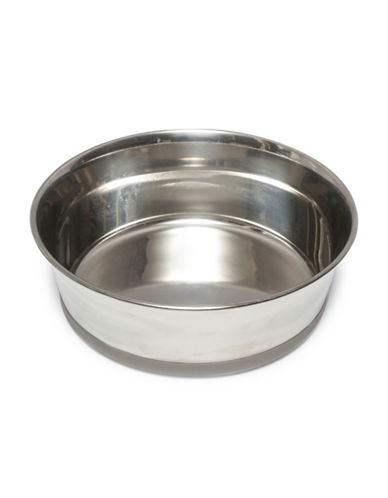 Messy Mutts Large Non-Slip Stainless Steel Bowl-GREY-Large
