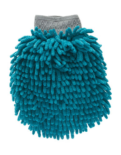 Messy Mutts Chenille Pet Grooming Mitt-BLUE-One Size