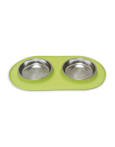 Messy Mutts Double Medium Pet Feeder-GREEN-Medium