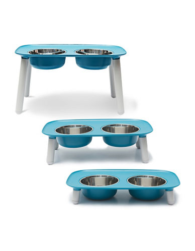Messy Mutts Elevated Double Dog Feeder-BLUE-One Size