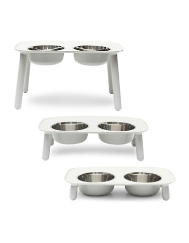 Messy Mutts Elevated Double Dog Feeder-GREY-One Size