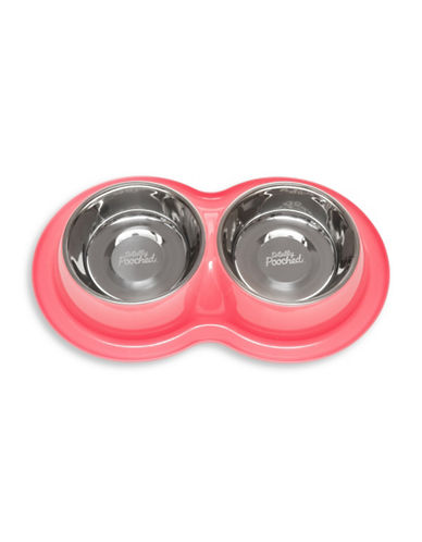 Totally Pooched Double Bowl Dog Feeder-PINK-Medium
