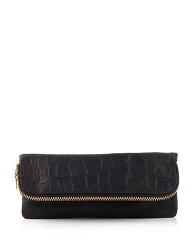 Brunswick And Co Croc-Print Leather Clutch Bag-BLACK-One Size