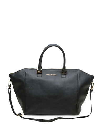 Annick Levesque Mona Leather Weekend Bag-BLACK-One Size