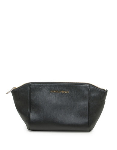 Annick Levesque Lisa Leather Clutch Bag-BLACK-One Size