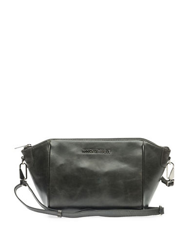 Annick Levesque Lisa Leather Clutch Bag-GREY-One Size