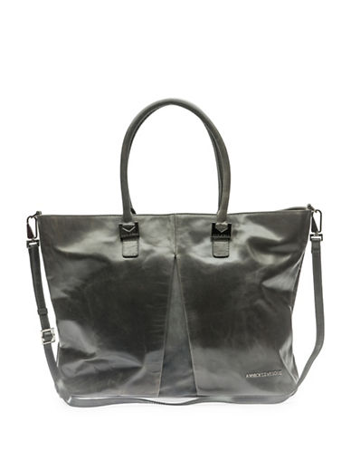 Annick Levesque Style Tina Leather Weekend Bag-GREY-One Size