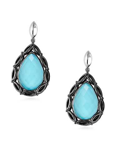 Hera Paradise Peardrop Gemstone Earrings-SILVER-One Size