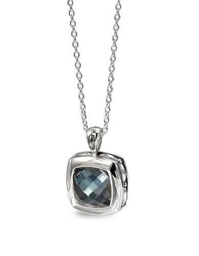 Hera Zoe Cushion Hematite Gemstone Pendant Necklace-SILVER-One Size