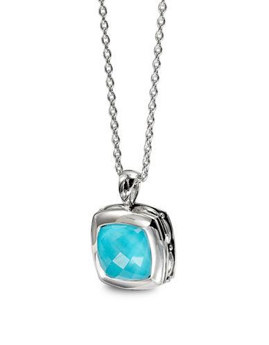 Hera Zoe Cushion Gemstone Pendant Necklace-SILVER-One Size