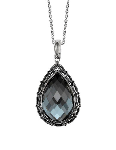 Hera Paradise Gemstone Pear Drop Pendant Necklace-SILVER-One Size