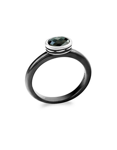 Hera Cocktail Stax Black Russian Hematite Ring-SILVER-7
