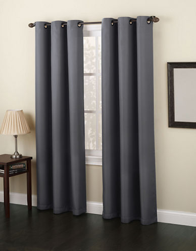 Home Studio Monterey 63-Inch Curtain Panel-DARK GREY-63 inches