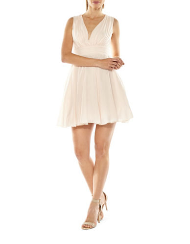 Tfnc Nordi Pleated Skater Dress-NUDE-Small