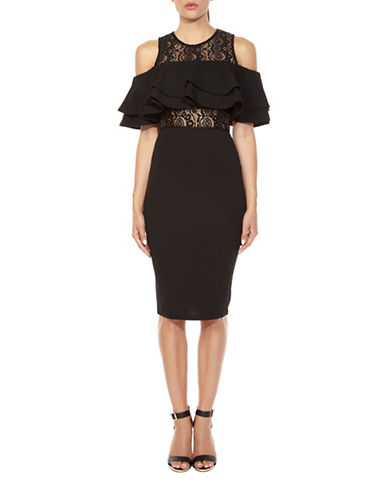 Tfnc Leelee Ruffle Shoulder Dress-BLACK-Small