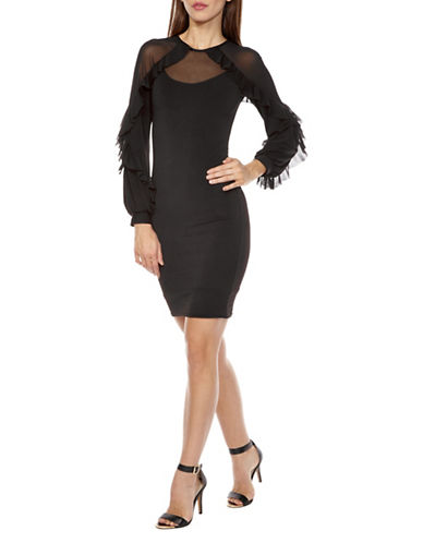 Tfnc Flame Fringe Bodycon Dress-BLACK-Small