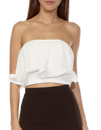 Tfnc Frill Detail Crop Top-WHITE-Small