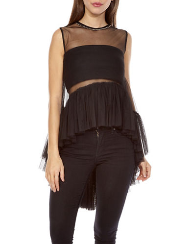 Tfnc Flamingo Peplum Top-BLACK-Medium